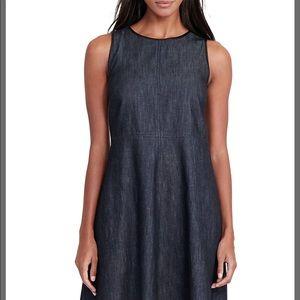 Lauren Faux Leather Trimmed Denim Dress